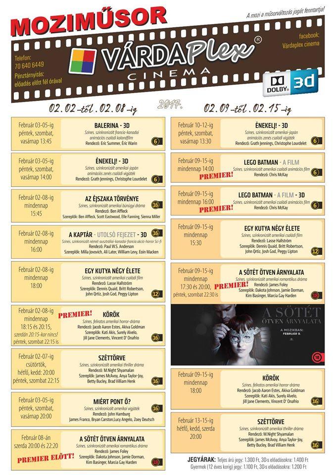 Várdaplex Cinema aktuális moziműsora